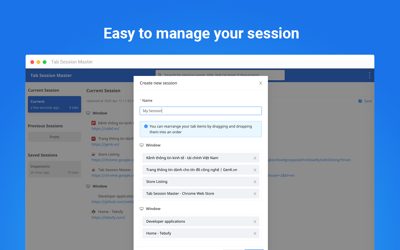 Easy to manage saved sessions